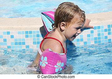 upset child swimming