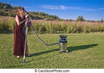 upset cleaner woman