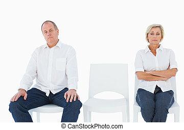 Upset couple not talking to each ot