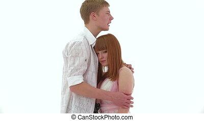 Upset couple - Young upset couple talking