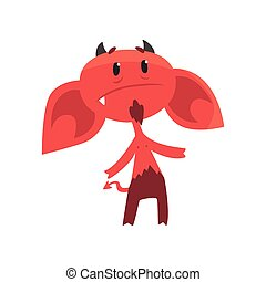 Upset devil character with big drooping ears, horns, tail and beard. Comic red demon in flat style
