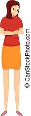 Upset girl icon, cartoon style