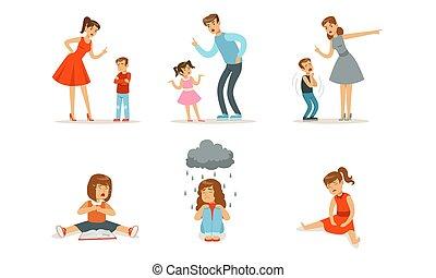 Upset girls sit and parents scold children. Vector illustration.