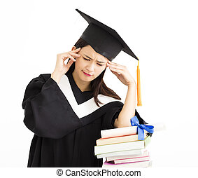 Upset graduate student with  stack of books