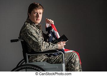 Upset handicapped veteran feeling helpless - Sad disabled...