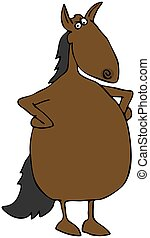 Upset Horse - This illustration depicts an upset looking ...