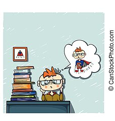upset little boy red hair dreams behind a pile of books, coloured drawing hand paint, little dreamer, superhero, children emotion, school day