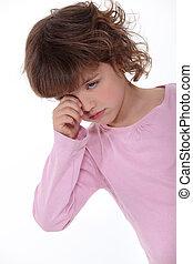 Upset little girl crying