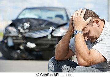 upset man after car crash - Adult upset driver man in front...