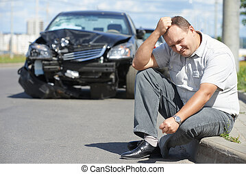 upset man after car crash - Adult upset driver man in front...