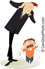 Upset man and crying child illustration - The man closes his...