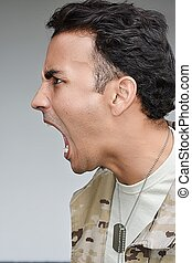 Upset Military Male Soldier