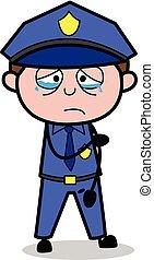 Upset - Retro Cop Policeman Vector Illustration