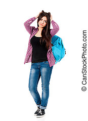 Upset student with bag