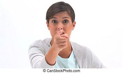 Upset woman arguing