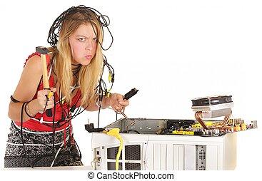 woman breaking computer