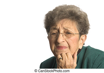 emotional senior woman distressed and upset