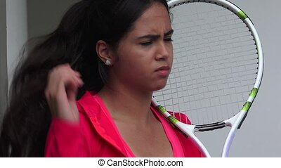 Upset Young Female Tennis Player