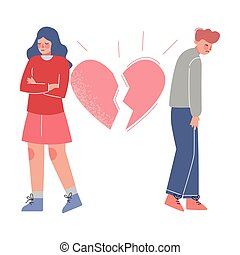 Upset Young Man and Woman Standing with Broken Heart, Breakup, Divorce Vector Illustration