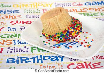 upside down birthday cupcake