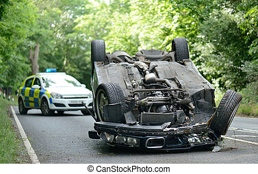 upside down car - Car accident crash flipped upside down,...