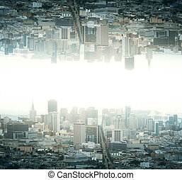 Upside down city - Abstract reflected upside down city on ...