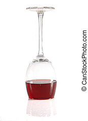 upside-down glass of wine - upside-down glass of red wine