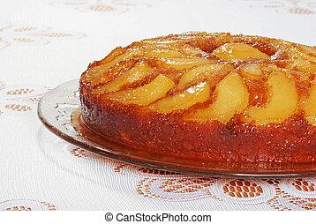 upside down pear cake glass platter