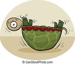 Upside Down Turtle - A cartoon turtle trapped upside down,...
