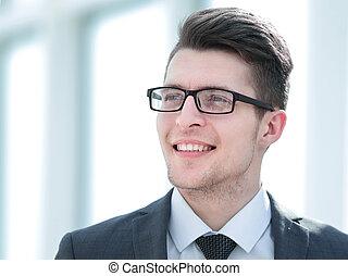 up.smiling, entrepreneur., becsuk, fiatal