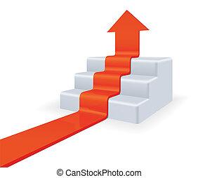 upstairs., concept, groei, richtingwijzer