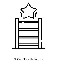 Upstairs line icon, concept sign, outline vector illustration, linear symbol.