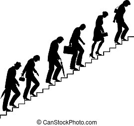 Editable vector silhouettes of people trudging upstairs