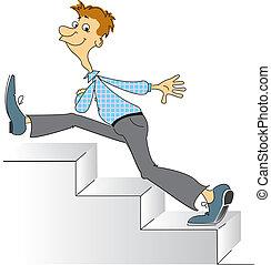 upstairs., vector, imagen, yendo, sonriente, cómico, hombre