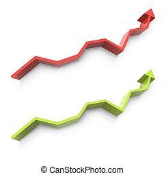 Uptrend arrow graph design element