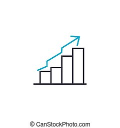 Uptrend chart vector thin line stroke icon. Uptrend chart outline illustration, linear sign, symbol concept.