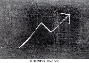 uptrend), planche, profit, flèche, cout, ascendant, vente, ...
