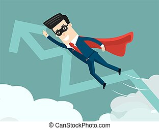 Uptrend. Super businessman with growing graph. Success business concept cartoon illustration.