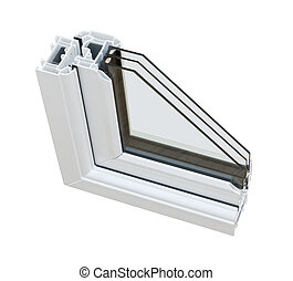 UPVC triple glazing cross section - A cross section of ...