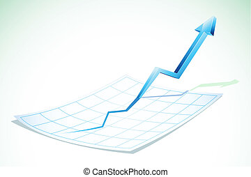 illustration of arrow going upward poping out of chart paper