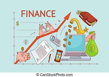 Upward chart, personal finance management concept