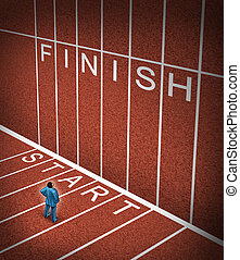 Upward climb business idea to overcome adversity with a businessman standing at the start line of a track and field path facing an obstacle to achieving a planned strategy for success and to go to the finish.
