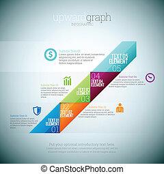 Vector illustration of upward graph infographic elements.
