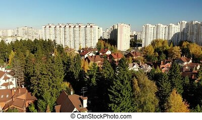 upward movement of cottage village near Moscow, Russia