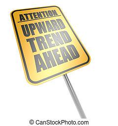 Upward trend ahead road sign
