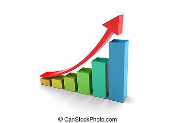 Upward trend barchart 3D illustration on white background