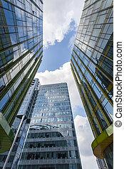upward view of modern glass buildings