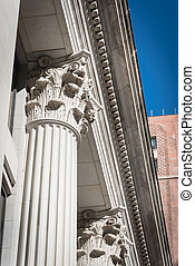 Upward view of typical government building columns in ...