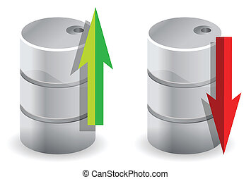upwards and downwards Oil prices illustration concept