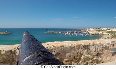 Upwards pan shot from cannon pointing at ocean in Sines, Portugal. High quality FullHD footage
